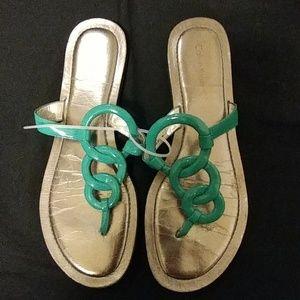Calvin Klein turquoise flip flops